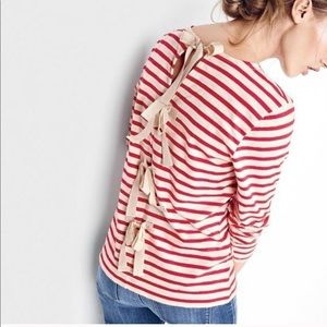 J. Crew Striped Long Sleeve Bows on Back